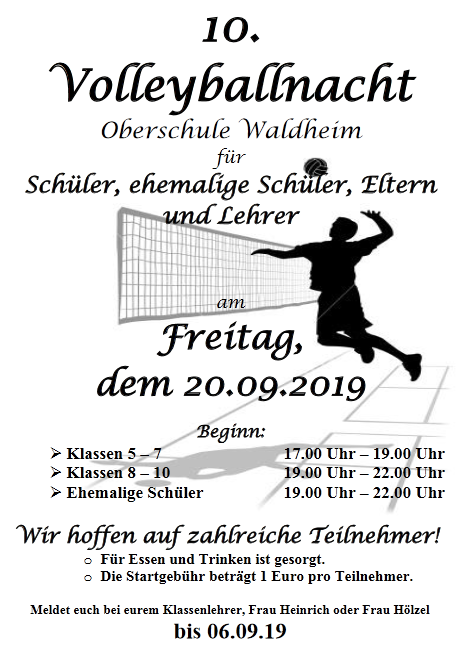 10. Volleyballnacht Flyer